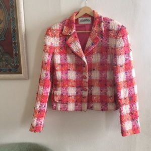 Vintage Agatha Paris bright pink tweed blazer